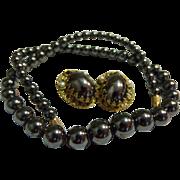 Fantastic Black Hematite Glass Beaded Necklace & Earrings Set West Germany