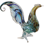 Vintage Murano Art Glass Rooster Beautiful Curled Colorful Tail Italian