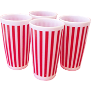 4 Vintage Red & White Candy Stripe Milk Glass Tumbler Retro Hazel AtlasGlasses