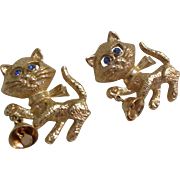 2 Vintage Avon Gold Tone Cat Kitten Holding Bell Blue Rhinestone Eyes Brooch Pin