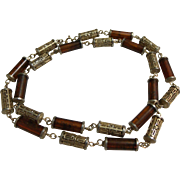 Rootbeer Amber Swirl & Gold-tone Filigree Necklace Designer