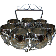 8 Silver Fade / Lustre Roly Poly Glasses In Chrome Caddy Mad Men Mid Century