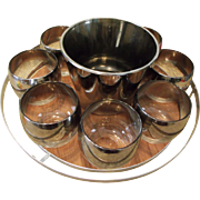 Silver Fade Roly Poly Glass Tumbler & Ice Bucket Set w/Chrome Rack/Caddy/Tray