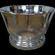 Silver Lustre / Fade Large Glass Bowl w/Chrome Base Mad Men