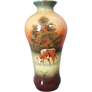 SALE Robert Hanke Porcelain Vase Hand Painted Rural Scene Cow