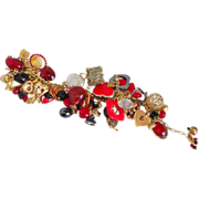 Red Black & Gold tone OOAK Charm bracelet Be Still My Heart!