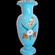 Blue Blown Bristol Glass Vase Hand Painted, Ruffled & Fantastic