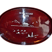 SALE Unusual Red Lacquer Tray UN Village 1971 (Seoul, South Korea) Inlaid Mother Of Pearl