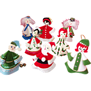 SOLD 8 Vintage Hand Sewn/Crafted Cone Christmas Characters/Figures Ornament