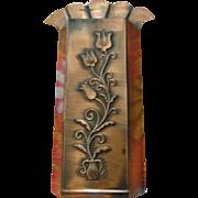 Lovely Vintage Metal Copper Wall Pocket Stylized Flower in Vase
