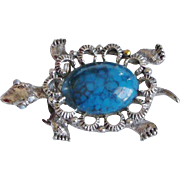 Faux Turquoise Turtle Tortoise Pendant / Brooch /Pin signed Gerrys