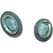 Whiting Davis Co Vintage Designer Silver Filigree Beveled Glass Carved Cameo Clip Earrings