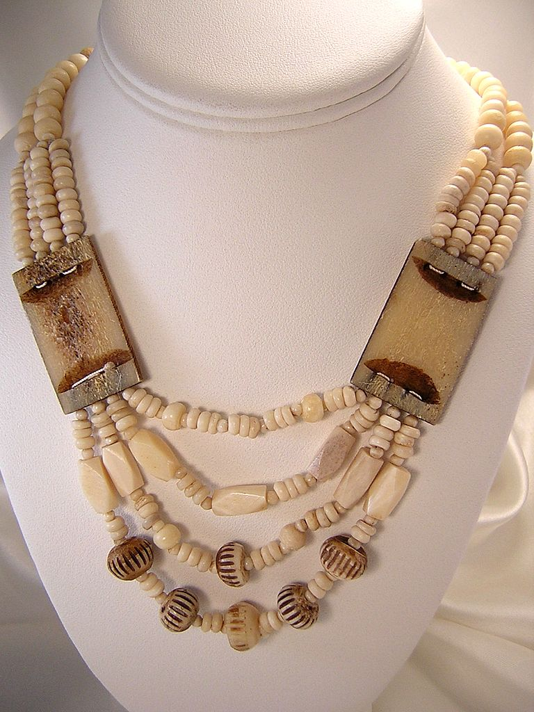 Vintage African Tribal Bone Necklace From Myfinestthings