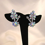 D&E (Juliana), Blue AB Rhinestone Clip Earrings