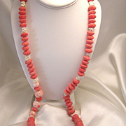 SALE Lovely Vintage Angel Skin Coral & Sponge Coral Bead Necklace