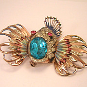 CORO CRAFT Sterling Rock Fish Brooch: Rare Book Pc.