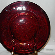 Vintage 1930 McKee Ruby Rock Crystal Plain Flower 7.5 Inch Salad or Dessert Plate