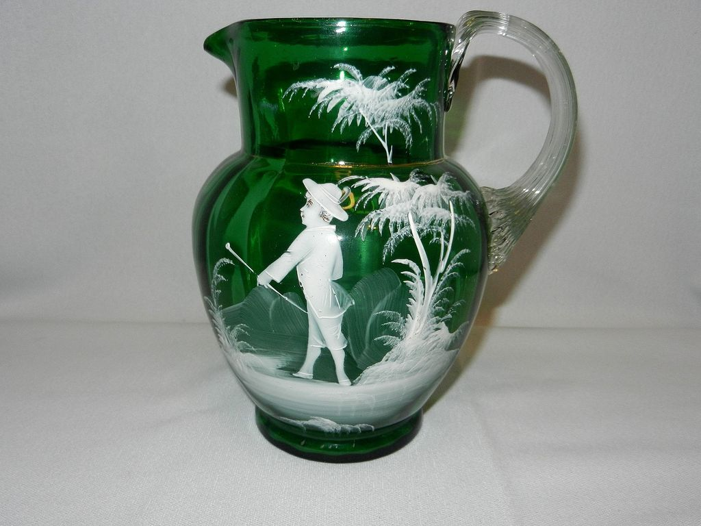 Antique Green Mary Gregory Style Victorian Glass Pitcher