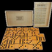 Vintage Puremco Marblelike Double Six Dominoes Set