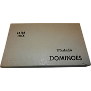 Vintage Puremco Marblelike Extra Thick Double Six Dominoes Set