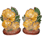 Vintage Syroco Wood Magnolia Blossom Bookends