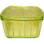 Vintage Anchor Hocking Green Depression Era Glass Refrigerator Container