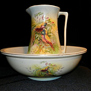 Vintage Hand Painted Wash Basin and Pitcher