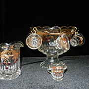 Vintage Mosser Glass Miniature Crystal Decorated Punch Set and Pitcher