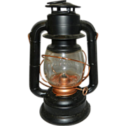 Vintage Dietz Electric Comet Lantern-Black with Copper Fittings