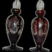 Vintage Ebermann Pigeon Blood Bohemian Intaglio Cut to Clear Perfume Bottles