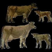 Vintage De Laval Cream Separator Lithographed Tin Jersey Cow & Calf Advertising Set