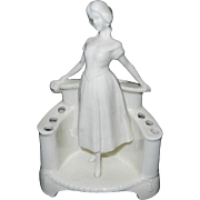 Vintage White Porcelain Lady Figurine Flower Frog