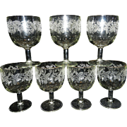 Vintage BARTLETT-COLLINS Water Goblets Grapevine Frosted Decal Gold Rim