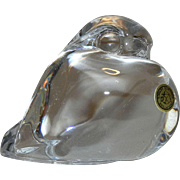 SOLD Vintage Portieux Crystal Art Glass Bird Paperweight