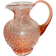 SOLD Vintage Tiara Indiana Glass Pink Hobnail Footed Pitcher-2 Qt.