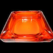 Vintage Orange Viking Glass Ashtray