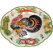 SALE Vintage Hand Painted Turkey Platter made in Italy