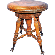 Antique Wood Piano Stool with Glass Marble Cast Iron Claw Feet