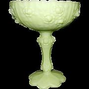 Vintage Fenton Lime Green Pedestal Compote with Rose Pattern