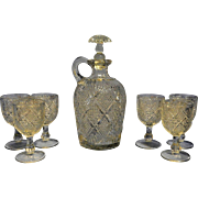 Antique EAPG Model Flint PEERLESS /Sunburst Diamond Decanter and Cordial Glasses ca. 1890's