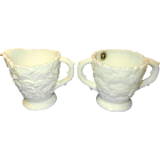 Westmoreland Milk Glass Sugar Dish and Creamer Embossed Maple Leaf Design