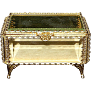 Vintage Ormolu Beveled Gilded 22kt Gold Glass Jewelry Casket