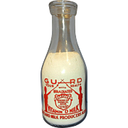 Vintage World War II Portland Milk Producers Association Quart Pyro Milk Bottle