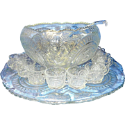 Antique Punch Bowl Set by L. E. Smith Glass Company