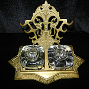 SOLD Solid Brass Double Inkwell and Pen Rack-  1870's