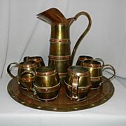 Vintage Cobre Laton Brass and Copper Service Set