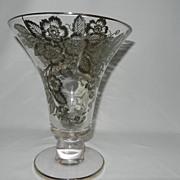 Vintage Fostoria Silver City Blossom Time Silver Overlay Tall Crystal Vase.