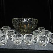SOLD Vintage Crystal Punch Bowl Set