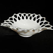 Westmoreland Milk Glass Lattice Oval Bowl