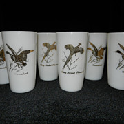 Vintage Federal Milk Glass Game Bird Tumblers
